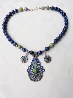 Antique Moroccan silver enamel pendants sodalite necklace