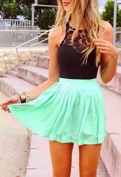 cute summer outfits for teens ~mint skirt black shirt . Summer Outfits 2014, Cute Summer Outfits For Teens, Cute Summer Dresses, Cute Dresses, Summer Clothes, Outfit Summer, Dress Summer, Casual Summer, Formal Dresses