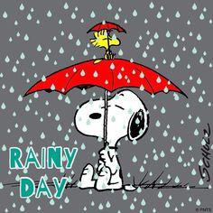 Rainy day blues under a red umbrella