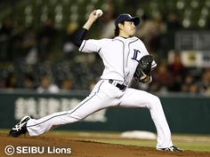 Ryouma Nogami pitches 5-plus frames of 2-run ball, 1 run earned, with scattering 4 hits and striking out 5 Hawks as he picks up his 1st win of the season at Seibu Dome on Wednesday, April 3, 2013.