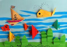 Origami ocean scene