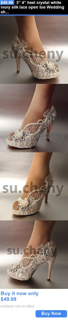 "Wedding Shoes And Bridal Shoes: 3"" 4"" Heel Crystal White Ivory Silk Lace Open Toe Wedding Shoes Bride Size 5-9.5 BUY IT NOW ONLY: $49.99"