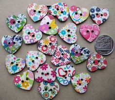 Check out this item in my Etsy shop https://www.etsy.com/uk/listing/158531365/10-x-wooden-heart-shaped-buttons-crafts