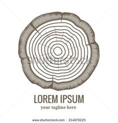 Set of 9 cross section of the trunk with tree rings, vector ...