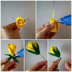 Diy Crafts - This is a simple and easy tutorial of how to fashion your own crochet rose! This easy crochet rose free pattern is a great way to learn h Crochet Bouquet, Crochet Puff Flower, Crochet Flower Tutorial, Knitted Flowers, Crochet Flower Patterns, Crochet Motif, Irish Crochet, Crochet Roses, Thread Crochet