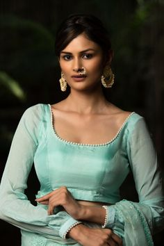 Sea green silk blouse with gathered sleeves and border detailing Saree Blouse Saree Blouse Patterns, Sari Blouse, Saree Blouse Designs, Green Satin, Green Lace, Designer Blouses Online, House Of Blouse, Brocade Blouses, Blouse Online