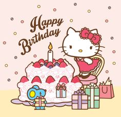 Image uploaded by Find images and videos about kitty, hello kitty and happy birthday on We Heart It - the app to get lost in what you love. Sanrio Hello Kitty, Hello Kitty Art, Hello Kitty Items, Hello Kitty Birthday, Cat Birthday, Cute Happy Birthday, Happy Birthday Quotes, Happy Birthday Images, Happy Birthday Greetings