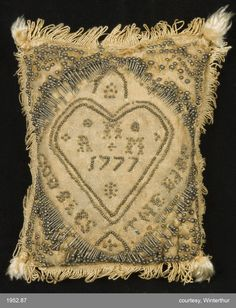 Pincushion Category: Textiles (Needlework)  Place of Origin: United States, North America  Date: 1777  Materials: Silk; Linen; Metal
