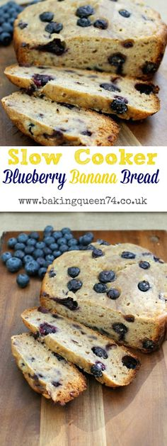 Slow Cooker Blueberry Banana Bread - this simple healthy banana bread has no refined sugar and is made with coconut oil and full of fruity goodness slow cooker recipes healthy Slow Cooker Desserts, Slow Cooker Cake, Slow Cooker Lasagna, Slow Cooker Roast, Slow Cooker Banana Bread, Slow Cooker Breakfast, Breakfast Casserole, Slow Cooking, Slow Cooked Meals
