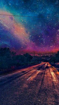 Colourful-Galaxy-View-From-Road-Wallpaper-iPhone-Wallpaper - iPhone Wallpapers #IphoneBackgrounds