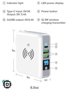 Visual: LCD digital display screen monitor the rate of charge and status of power bank