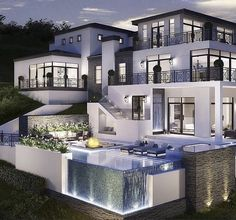 40 Stunning Mansions Luxury Exterior Design Ideas So far, we have sh. - 40 Stunning Mansions Luxury Exterior Design Ideas So far, we have shown you exterior de - Dream Home Design, Modern House Design, Glass House Design, My Dream Home, Dream Mansion, White Mansion, Luxury Homes Dream Houses, Dream House Exterior, House Goals