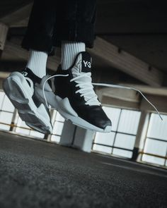 7cf1efabf Adidas Y-3 Kaiwa Black White Sneakers On Foot Look White Sneakers