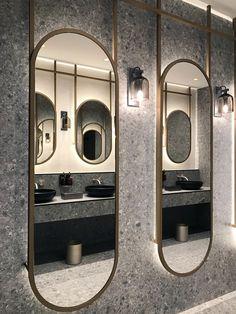 Luxury Bathroom Design: Be Inspired By These Top Ideas For 2020 MOEM-Studio-Created-Mid-Century-Bathrooms-For-Barcelonas-Sofia-Hotel MOEM-Studio-Created-Mid-Century-Bathrooms-For-Barcelonas-Sofia-Hotel Hair Salon Interior, Salon Interior Design, Home Interior, Interior Design Inspiration, Bathroom Inspiration, Design Ideas, Design Trends, Bathroom Ideas, Bathroom Organization