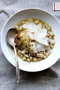 Brining instead of soaking white beans for this amazing stewy white bean soup makes all the difference in the world. Comfort food at its finest!