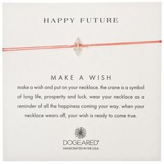 """DOGEARED - Happy Future Origami Crane Charm Necklace in Sterling Silver. 16"""" red silk thread. 12mm x 7mm gold dipped origami crane charm. gold dipped spring ring closure. happy future message card. Created by Dogeared Jewelry Co., California."""