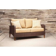 Brown Jordan Marquis Patio Loveseat in Toffee with Tessa Barley Throw Pillows -- STOCK