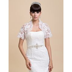 Nice Short Sleeve Lace Evening/Wedding Jackets/Wraps(More Colors) – USD $ 49.69