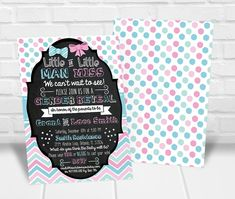 Little Man or Little Miss Gender Reveal Party Invitation Gender Reveal Party Invitations, Party Invitations Kids, Personalized Invitations, Printable Invitations, Baby Shower Invitations, Quick Print, Reveal Parties, Little Miss