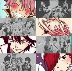 Take care of your friends because they are the most precious things in the world, text, Natsu, Lucy, Gray, Erza, Happy; Fairy Tail