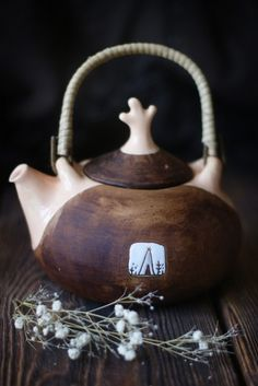 Ceramic teapot about the Forest Spirit and the northern sky