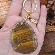 Iron Tiger Eye Tumble Stone Keyring or Handbag Charm.