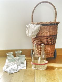 Plastic-Free, Zero-Waste Shopping Kit for Paris. Weck Jars, Four washed, re-used Aesop bags (one large for bread, three small for tiny produce like berries) Re-used berry basket- good for eggs, small loose produce, or makeshift wine carrier re-used lemonade bottles with rubber and porcelain stoppers filet bags wood metal and rubber shopping cart / trolley chariot osier. Zero dechet and sustainable!