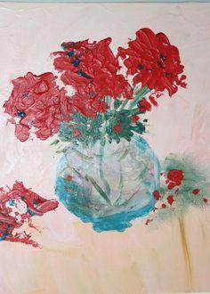 Original painting  - Red geranium original acrylic modern art - carmine red flowers - aqua blue glass pot - creamy pink background