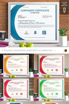 Corporate & Modern Vol. Certificate Of Completion, Vintage Logo Design, Retail Logo, Certificate Templates, Corporate Business, Food Retail, Vintage Flowers, Modern, 3d