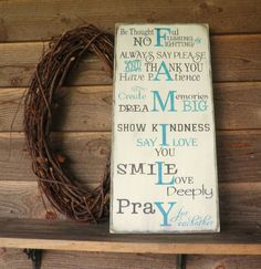 Family rules, house rules, inspirational sign, wall decor, primitive decor, rustic decor, aqua, shabby chic on Etsy, $39.95