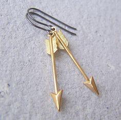 Brass arrow earrings, gold arrows, oxidized sterling silver earwires, woodland fashion, archery, hunter