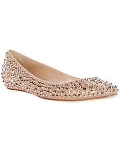 Peach leather ballet pumps from Casadei featuring stud embellishments and a leather sole.