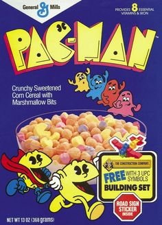"""Are You a Ghost Chomper? Pac-Man Cereal, introduced in 1983, was a hit with fans of the arcade game. So-called """"ghost chompers"""" enjoyed the delicious Pac-Man marshmallows almost as much as they..."""