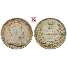 Kanada, Edward VII., 20 Cents 1902, ss: Edward VII. 1901-1910. 20 Cents 1902 H. KM 11; sehr schön 30,00€ #coins