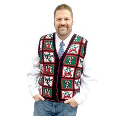 Vintage 80s Candy Canes and Bells Tacky Ugly Christmas Sweater