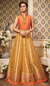 Yellow and Orange Color Shaded Silk Long Anarkali Suit #anarkalidressesonlineshoppingindia #anarkalikurtisonlineshoppinglowprice Combine comfort and elegance by wearing this yellow and orange color shaded silk long Anarkali suit. The pretty lace, stones and resham work a substantial characteristic of this attire.  USD $ 149 (Around £ 103 & Euro 113)