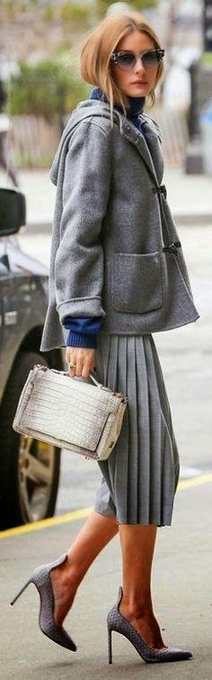 Fashion trends | Grey coat, pleated skirt, heels, handbag
