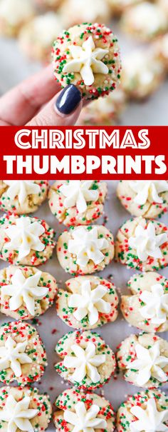 Frosted Christmas Thumbprints are so cute and fun to make! Festive Christmas sprinkles, buttery cookie dough with a touch of almond extract, and homemade buttercream frosting! Christmas Thumbprints Start with an easy to make Christmas Sprinkles, Christmas Desserts, Holiday Treats, Christmas Cookies, Holiday Recipes, Homemade Christmas Treats, Christmas Ideas, Christmas Recipes, Buttery Cookies