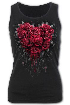 Bleeding Heart - Razor Back... Gothic Tops, Cotton Vest, Dark Fashion, Heart Print, Gender Female, Black Cotton, Black Tops, Cute Outfits, Fashion Outfits