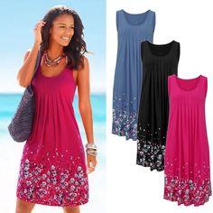 a7b200c44b Hot Summer Women Casual Sleeveless Evening Party Short Mini Dress Beach  Sundress
