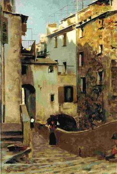 Telemaco Signorini,  Interno del paese di Riomaggiore, olio su tela, cm. 23,8 x 35,5.
