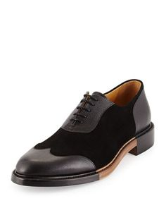 Meyer Leather & Suede Wing-Tip Shoe, Ink by The Office of Mister Scott at Neiman Marcus.