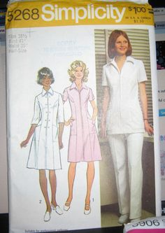 vintage  Nurses Uniform  vintage sewing by LuckyCarolDesigns, $4.75 My first uniforms looked like this, but were bought instead of homemade. And polyester knit.