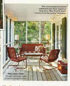 I have this same old metal porch furniture in green. Going to paint it red this summer :)