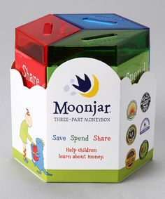 "Moonjar:  three part ""piggy bank"" for kids - save, spend and share.  What a great idea!"