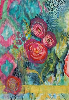 Saatchi Online Artist: Annie Flynn; Mixed Media, 2012, Painting Ikat Peonies #Artsandcrafts