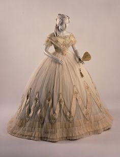 """Evening Dress 1863 (Amelia Grayson or Caroline Grayson in """"A Love by Any Measure"""" would definitely have had something like this."""