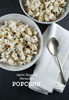 Garlic, Thyme & Parmesan Popcorn by @Lisa |Authentic Suburban Gourmet
