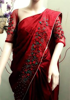 Sewing patterns for women dresses blouses Ideas for 2019 Saree Embroidery Design, Hand Embroidery Dress, Embroidery Fashion, Saree Dress, Blouse Dress, Sewing Clothes Women, Sewing Blouses, Trendy Sarees, Dress Sewing Patterns