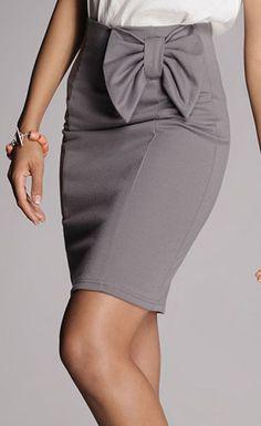FIGL Gray Bow Pencil Skirt